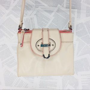 Nine West Trifold Crossbody Purse Nude Coral